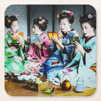 Hand Colored Vintage Geisha Gathering Square Paper Coaster