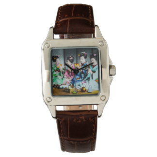 Hand Colored Vintage Geisha Gathering Wristwatches