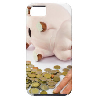 Hand counting euro coins from piggy bank iPhone 5 cover