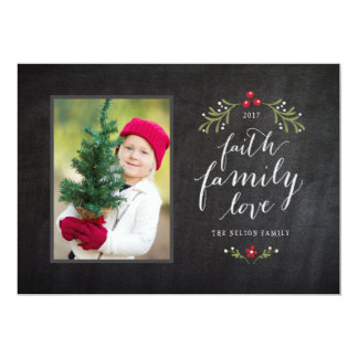 Hand Crafted Faith Family Love Holiday Card