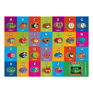 Hand Critter English ABC Alphabet for Kids Print