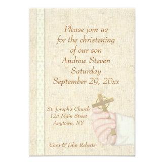 Hand Cross Christening Invitation