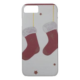 Hand cut red santa sock iPhone 7 case