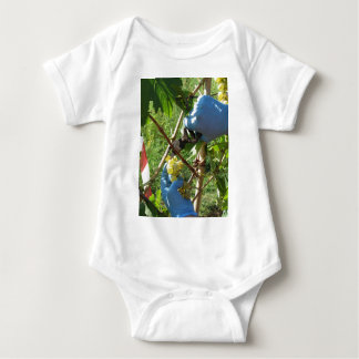Hand cutting white grapes, harvest time baby bodysuit