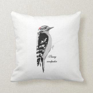 Hand dawn downy woodpecker throw pillow