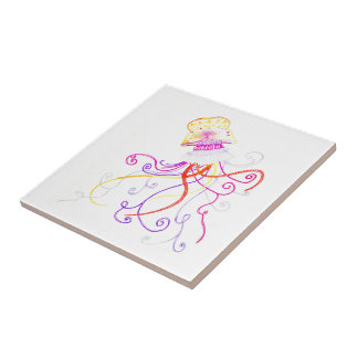 Hand Designed Jellyfish Ceramic Tile