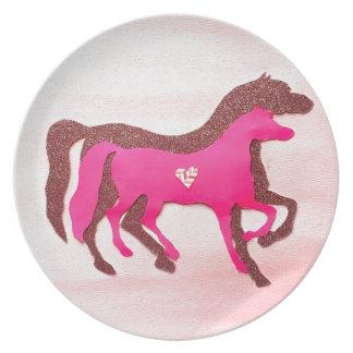 Hand Designed Pink Horse Melamine Plate