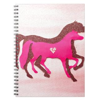 Hand Designed Pink Horse Notebook
