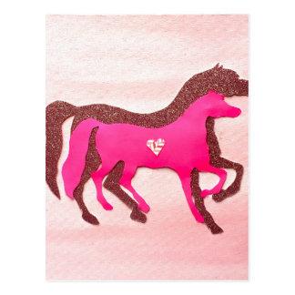 Hand Designed Pink Horse Postcard
