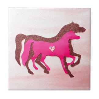 Hand Designed Pink Horse Tile Coaster