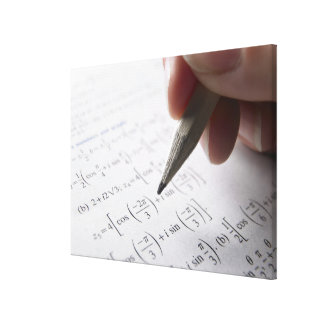 Hand doing math homework gallery wrap canvas