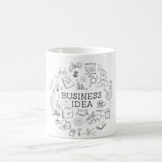 hand draw doodle web charts business elements basic white mug