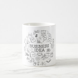 hand draw doodle web charts business elements classic white coffee mug