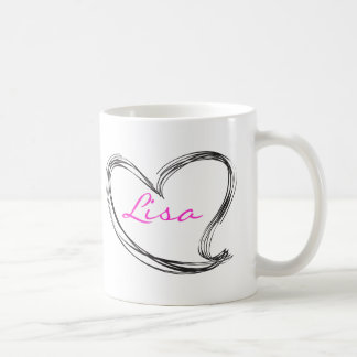 Hand draw heart classic white coffee mug