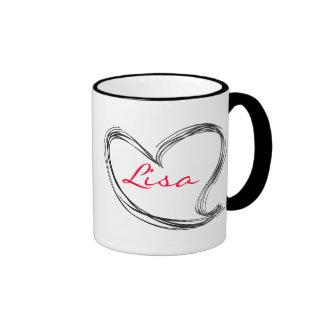 Hand draw heart ringer mug