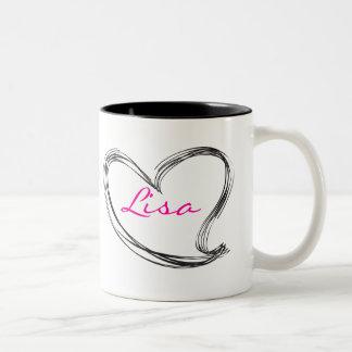 Hand draw heart Two-Tone coffee mug