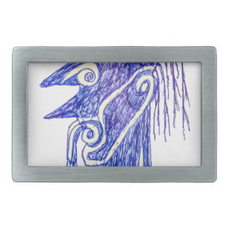 Hand Draw Monster Portrait Ilustration Rectangular Belt Buckle