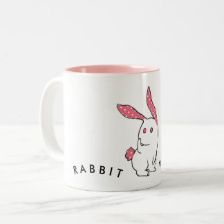 Hand draw Pink Rabbit Two-Tone Coffee Mug