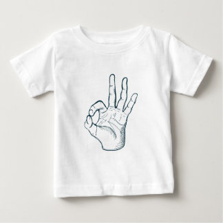 Hand draw sketch vintage okay hand sign baby T-Shirt