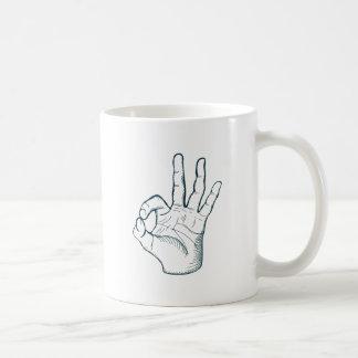 Hand draw sketch vintage okay hand sign coffee mug