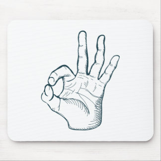 Hand draw sketch vintage okay hand sign mouse pad