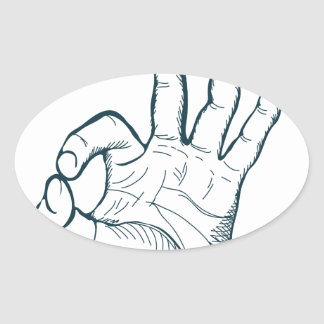 Hand draw sketch vintage okay hand sign oval sticker