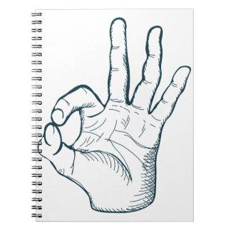 Hand draw sketch vintage okay hand sign spiral notebooks