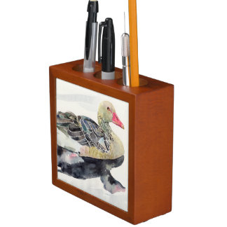 Hand Draw Watercolor Bird Duck Pencil Holder