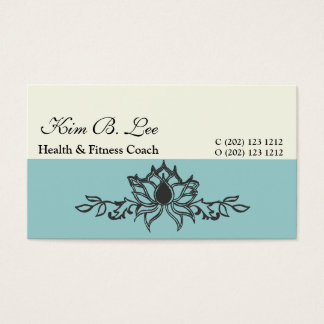 Hand Drawing Lotus Flower Yoga Instructor Business Card