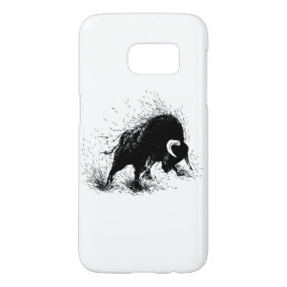 Hand drawing of a raging bull samsung galaxy s7 case