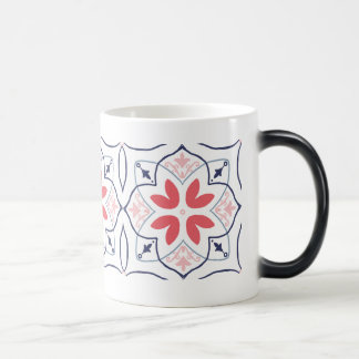 Hand-drawing tiles Mug Pink and Navy Pattern Art