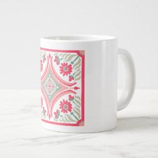 Hand-drawing tiles Mug Pink floral Pattern Art