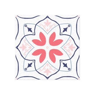 Hand-drawing tiles Wall Art Pink and Navy