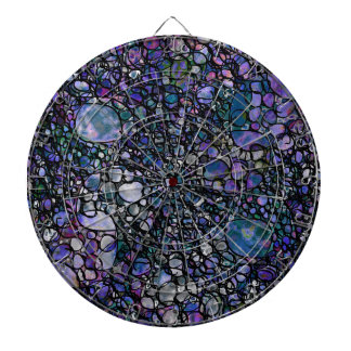 Hand-Drawn Abstract Circles, Blue, Purple, Black Dartboard