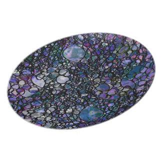 Hand-Drawn Abstract Circles, Blue, Purple, Black Dinner Plates