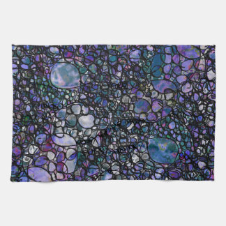 Hand-Drawn Abstract Circles, Blue, Purple, Black Kitchen Towel