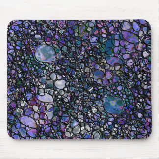 Hand-Drawn Abstract Circles, Blue, Purple, Black Mouse Pad