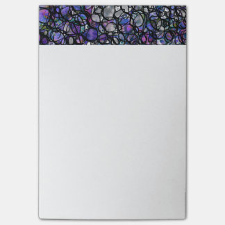 Hand-Drawn Abstract Circles, Blue, Purple, Black Post-it Notes