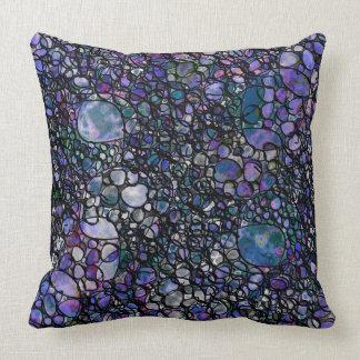 Hand-Drawn Abstract Circles, Blue, Purple, Black Throw Pillow