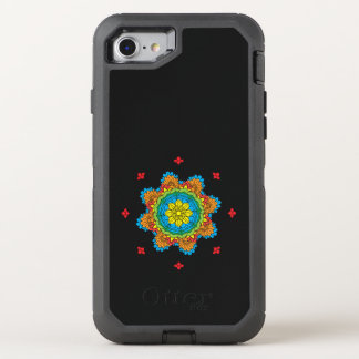 Hand drawn abstract mandala design. Vector orienta OtterBox Defender iPhone 8/7 Case