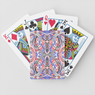Hand Drawn Abstract Red White Blue Line Art Doodle Bicycle Playing Cards