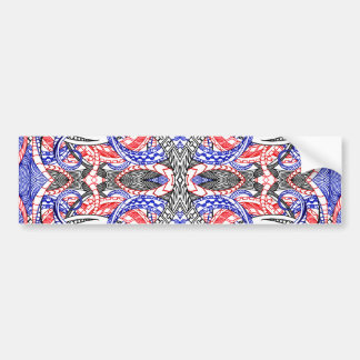 Hand Drawn Abstract Red White Blue Line Art Doodle Bumper Sticker