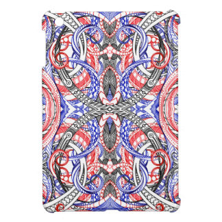 Hand Drawn Abstract Red White Blue Line Art Doodle Cover For The iPad Mini