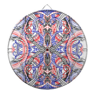 Hand Drawn Abstract Red White Blue Line Art Doodle Dartboard