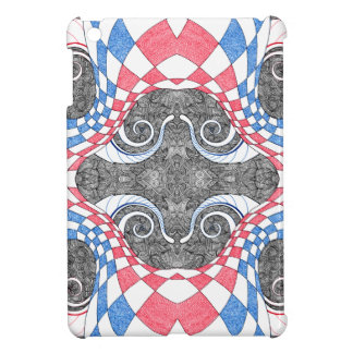 Hand Drawn Abstract Red White Blue Line Art Doodle iPad Mini Cover