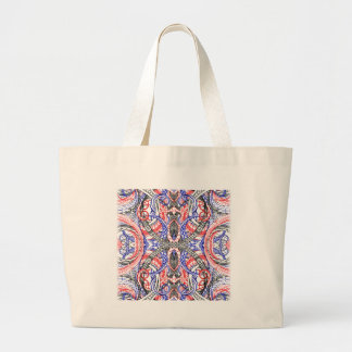 Hand Drawn Abstract Red White Blue Line Art Doodle Large Tote Bag