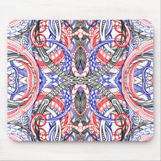 Hand Drawn Abstract Red White Blue Line Art Doodle Mouse Pad