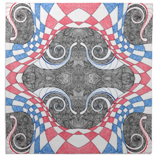 Hand Drawn Abstract Red White Blue Line Art Doodle Napkin