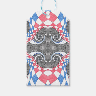 Hand Drawn Abstract Red White Blue Line Art Doodle Pack Of Gift Tags