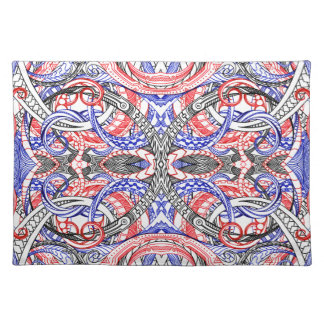 Hand Drawn Abstract Red White Blue Line Art Doodle Placemat